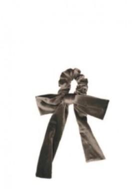 Silver Velvet Bow Scrunchie